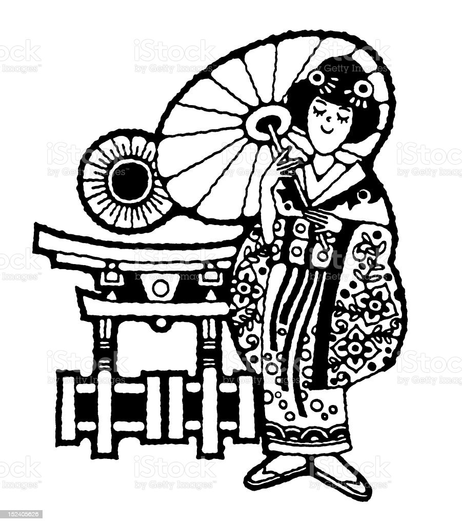 Asian Woman in Traditional Dress royalty-free stock vector art