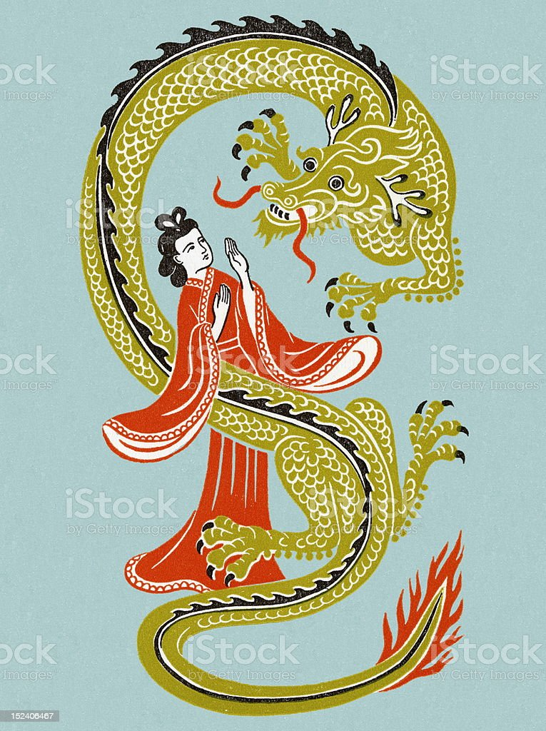 Asian Woman With Dragon royalty-free asian woman with dragon stock vector art & more images of adult