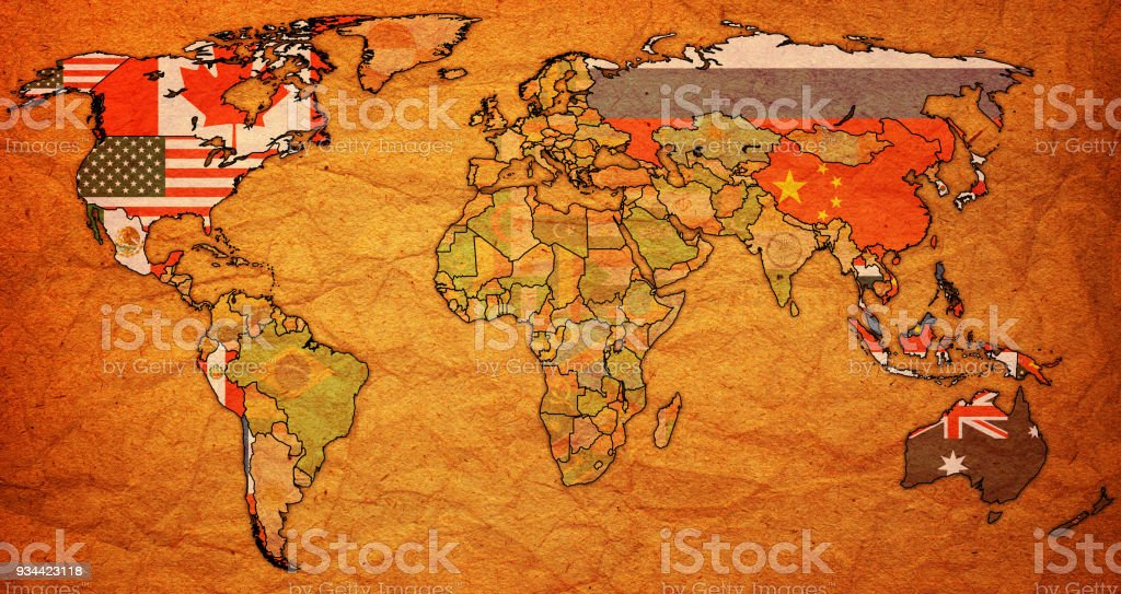 Asiapacific economic cooperation member countries flags on world map asia pacific economic cooperation member countries flags on world map royalty free asiapacific economic gumiabroncs