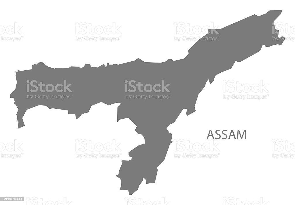 Assam India Map Grey Stock Vector Art More Images Of Assam