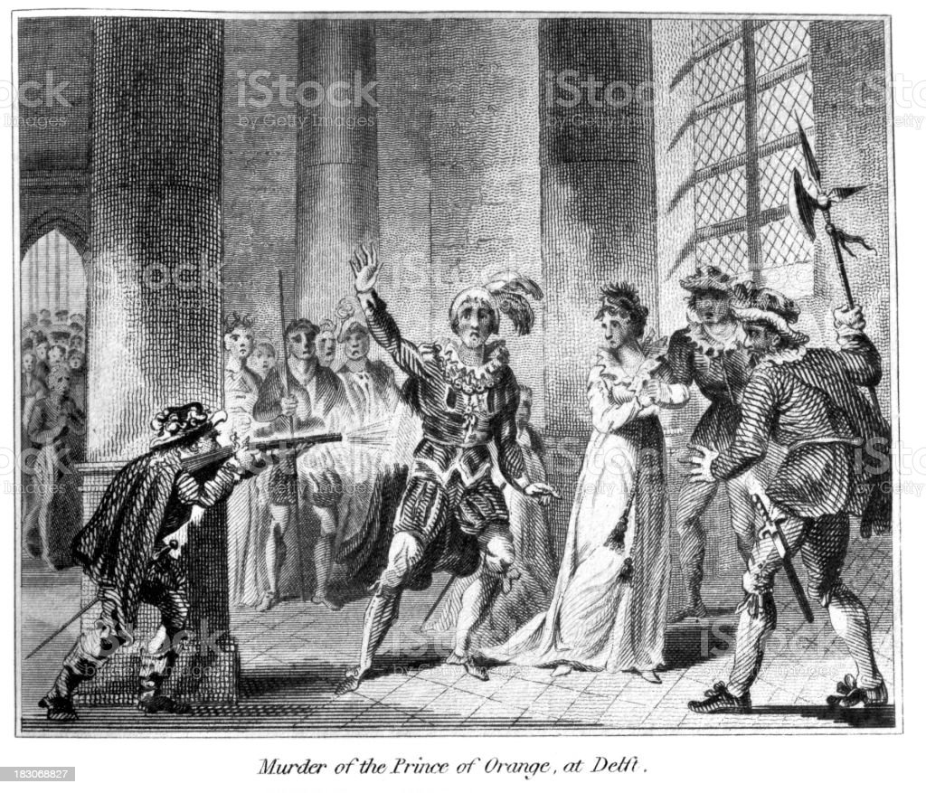 Assassination of William the Silent by Balthasar Gérard royalty-free stock vector art