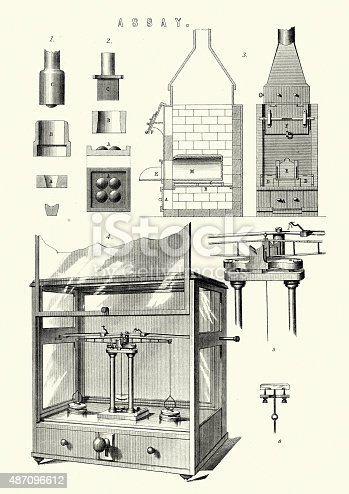 Vintage engraving of Assay equipment. An assay is an investigative (analytic) procedure in laboratory medicine, pharmacology, environmental biology, continuous delivery, and molecular biology for qualitatively assessing or quantitatively measuring the presence or amount or the functional activity of a target entity (the analyte). 19th Century