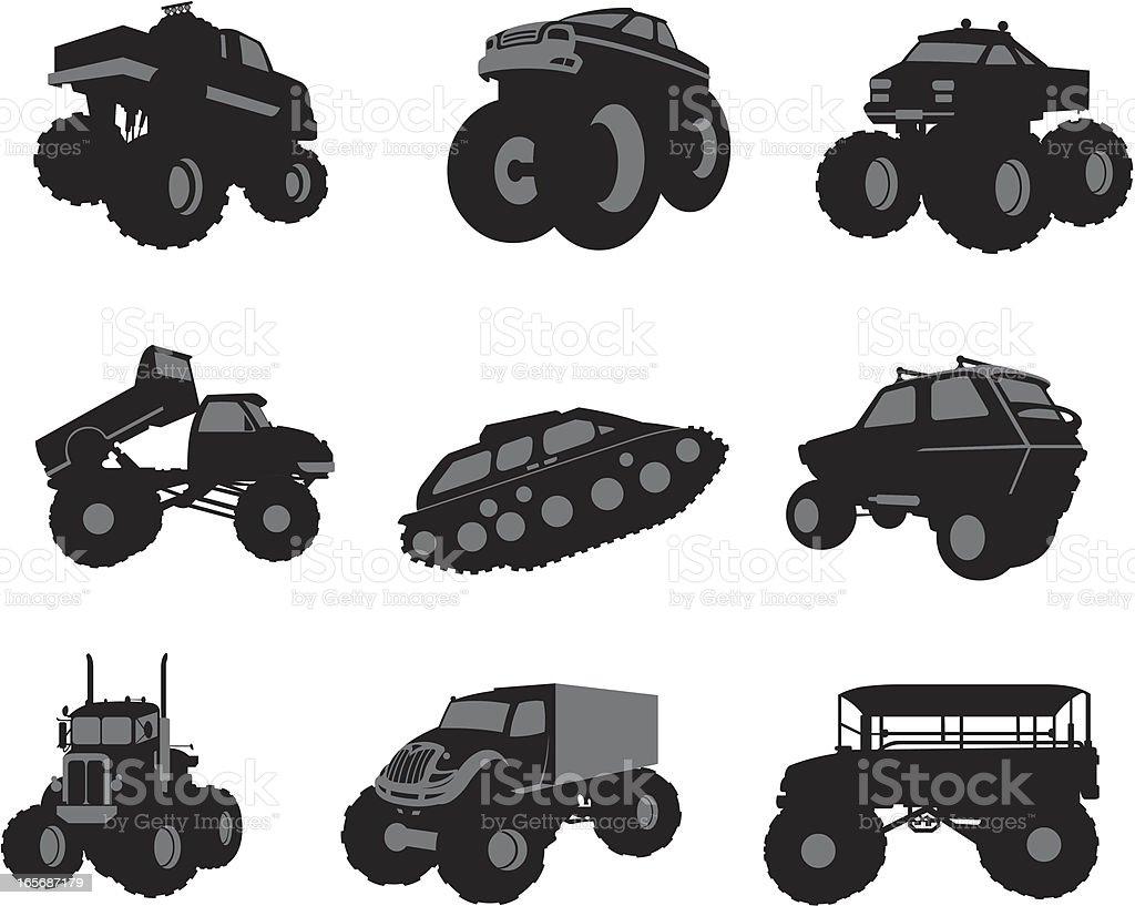 Assorted big vehicles royalty-free stock vector art
