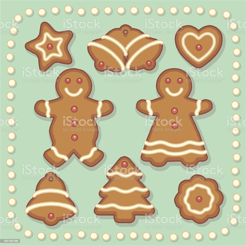Assorted Gingerbread Cookies vector art illustration