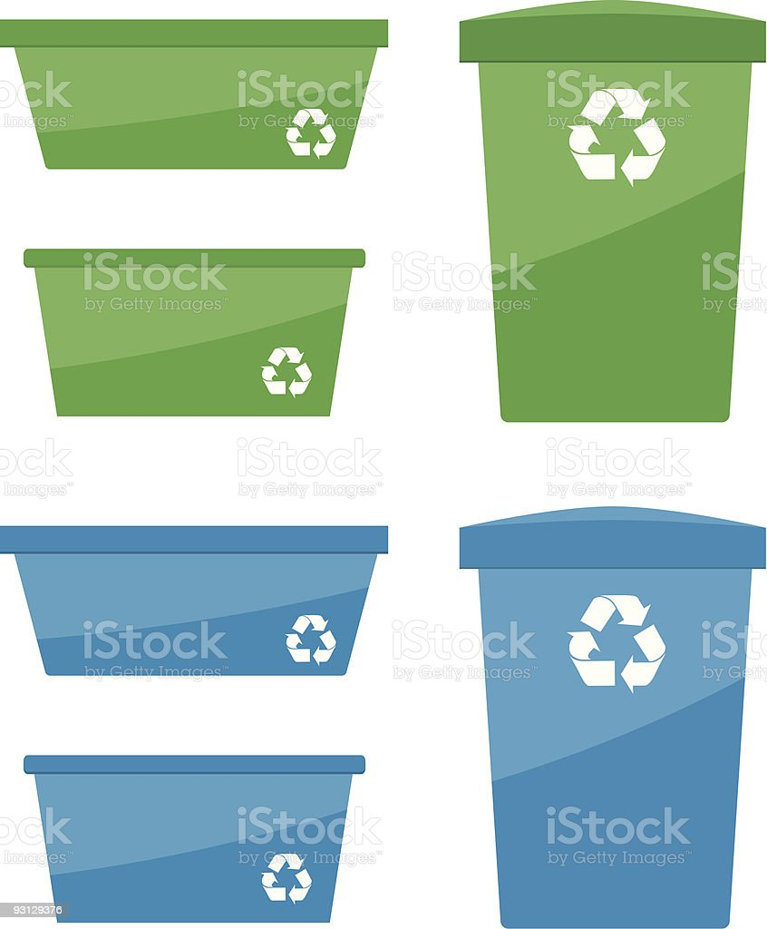 Assorted Recycling Bins royalty-free stock vector art
