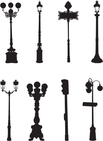 Assorted street light silhouettes