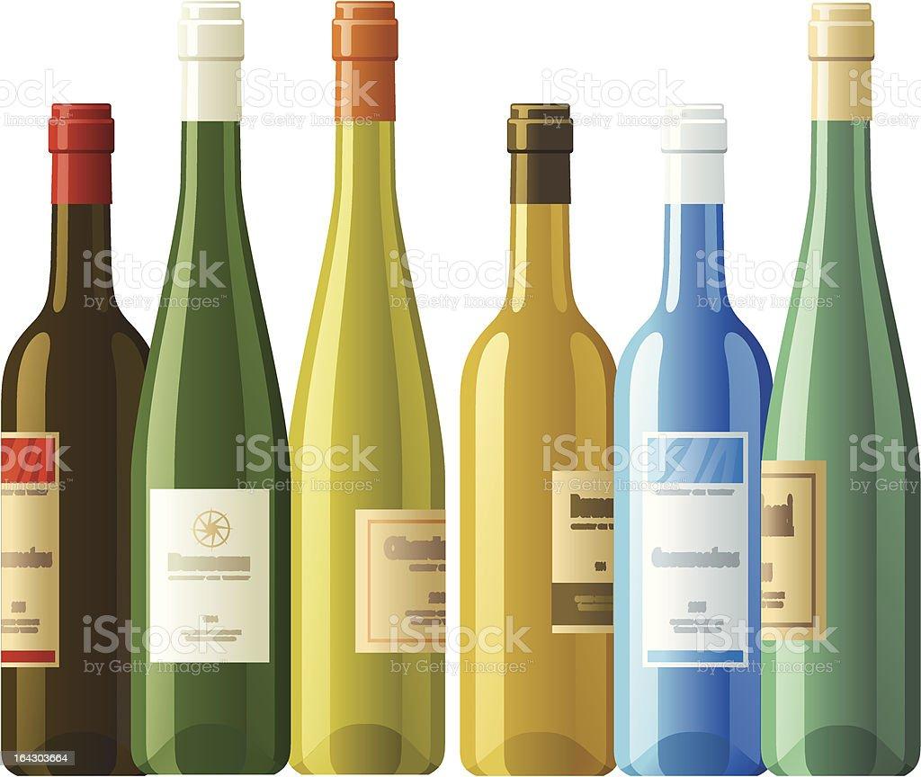 Assorted wine bottles royalty-free stock vector art