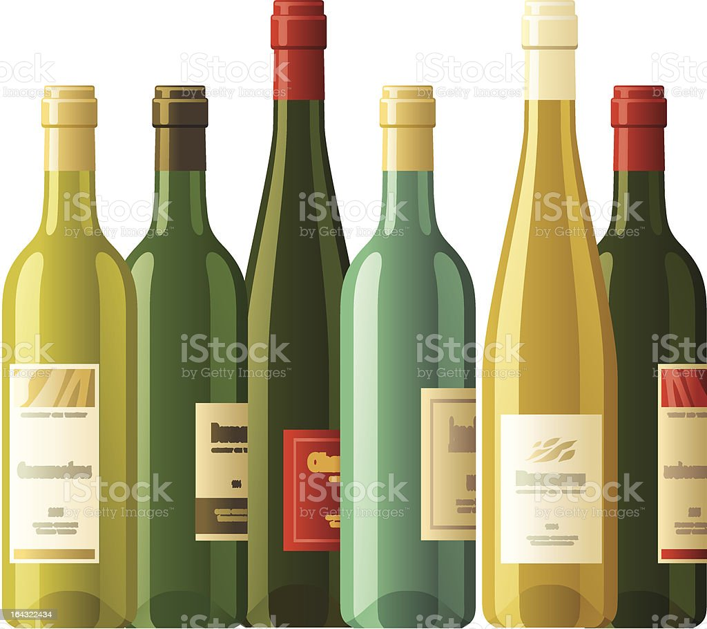 Assorted wine bottles vector art illustration