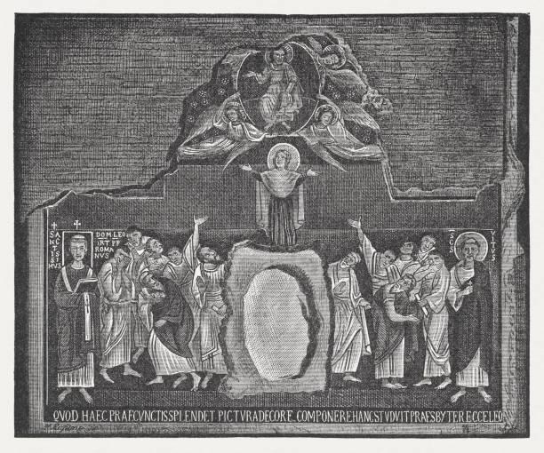 illustrazioni stock, clip art, cartoni animati e icone di tendenza di ferragosto, all'aperto di san clemente, roma (xi secolo - ferragosto