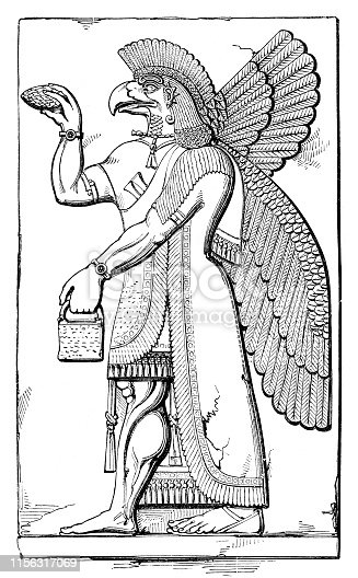 Steel engraving This bas-relief from Khorsabad showing an eagle-headed genie. Bird-headed Genie from the Palace of Sargon II at Khorsabad - Neo-Assyrian, Sargonid Dynasty - ca. 721-705 BCE Original edition from my own archives Source :