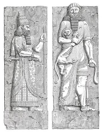 Ba-relief at Louvre of Assyrian king in Khorsabad Dur-Sharrukin (