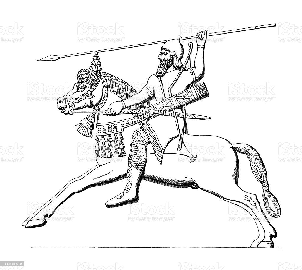 Assyrian Mounted Spearman royalty-free stock vector art