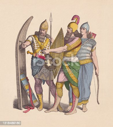 istock Assyrian warriors, hand-colored wood engraving, published ca. 1880 1318486180