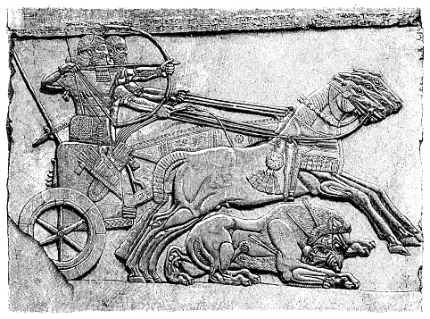 Illustration of a Assyrian warriors hunting a lion (North West Palace, Nimrud).