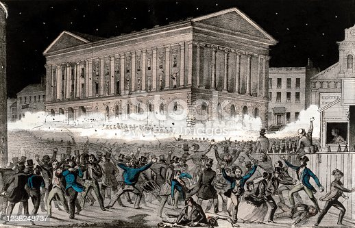 Vintage illustration features the Astor Place Riot that occurred on May 10, 1849, at the now-demolished Astor Opera House in Manhattan, New York. The riots generally pitted immigrants and nativists against each other, or together against the wealthy who controlled the city's police and the state militia.