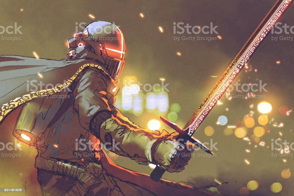 Ilustración de Astrocaballero Futurista Armadura Sosteniendo Espada ...