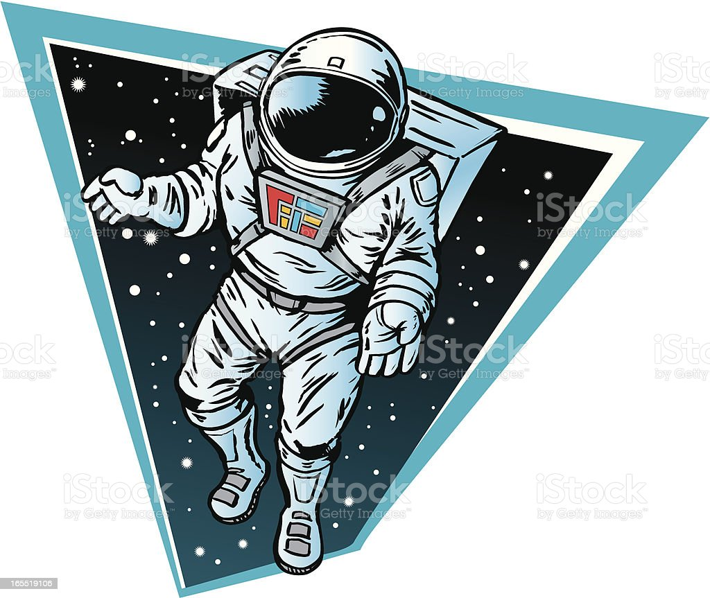 Astronaut floating in space vector art illustration