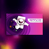 istock Astronaut flying in outer space. Abstract space illustration. 1299933896