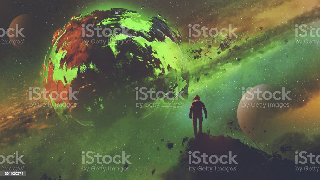 astronaut looking at the acid planet vector art illustration
