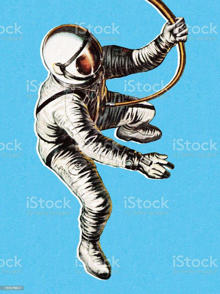 Astronaut on Space Walk royalty-free stock vector art