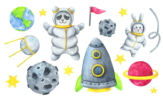 Astronaute Panda Fusee Satellite Lapin Asteroide Etoiles Planete Une Collection Dillustrations Daquarelle Au Sujet Dun Voyage