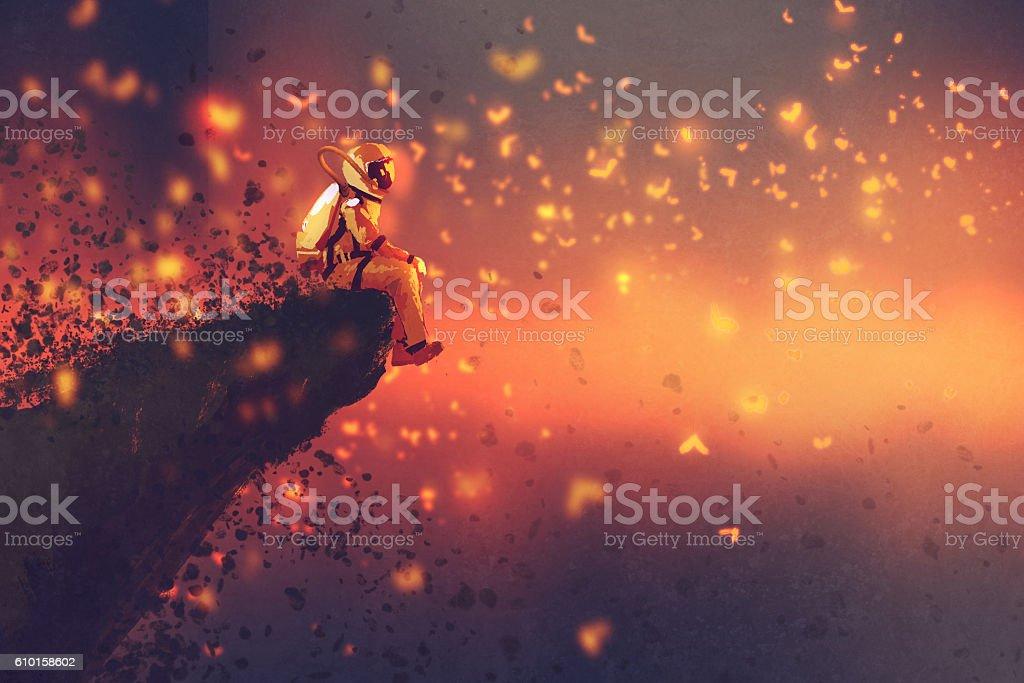 astronaut sitting on cliff's edge looking to fireflies vector art illustration