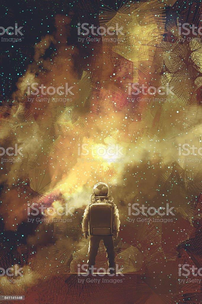 astronaut standing against universe stars field vector art illustration