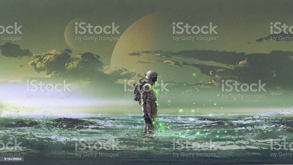 astronaut standing by the sea vector art illustration
