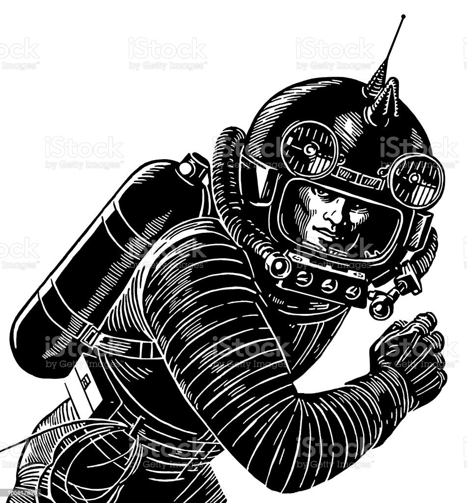 Astronaut Wearing a Spacesuit royalty-free stock vector art