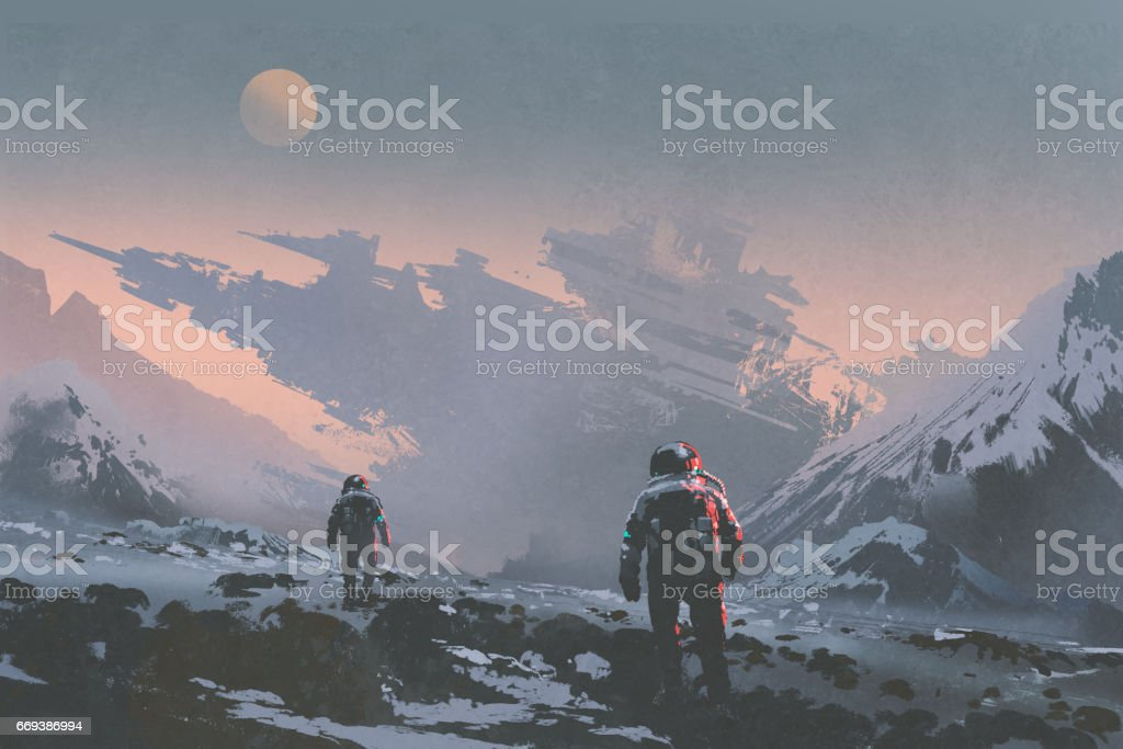 astronauts walking to derelict spaceship sci-fi concept of astronauts walking to derelict spaceship on alien planet, illustration painting Abandoned stock illustration