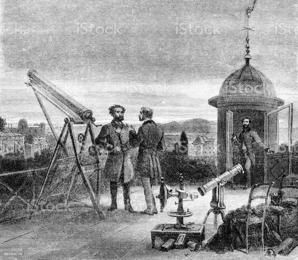 Astronom med teleskop vakar nightsky över Paris 1868 - Royaltyfri 1800-talsstil Illustrationer