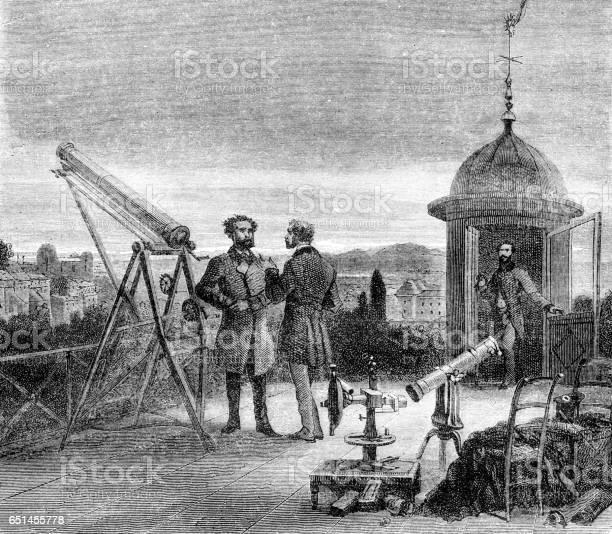 Astronom Med Teleskop Vakar Nightsky Över Paris 1868-vektorgrafik och fler bilder på 1800-talsstil
