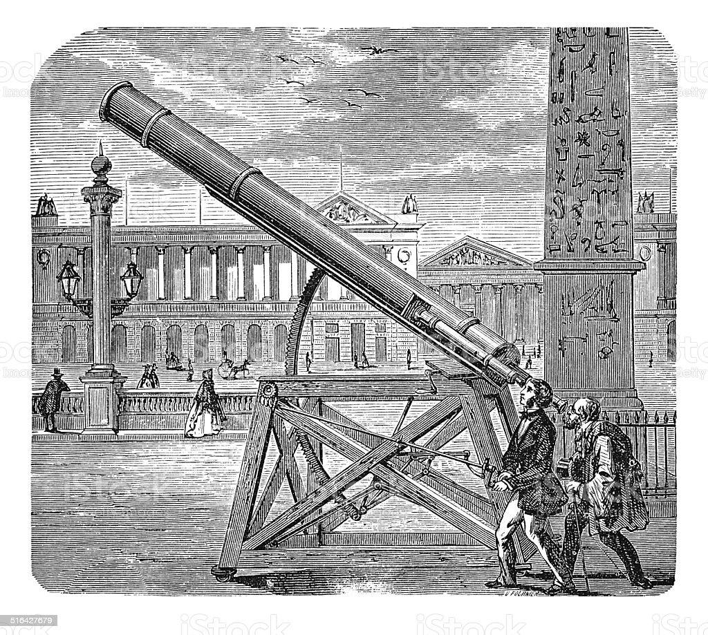 Télescope Astronomic (gravure ancienne) - Illustration vectorielle
