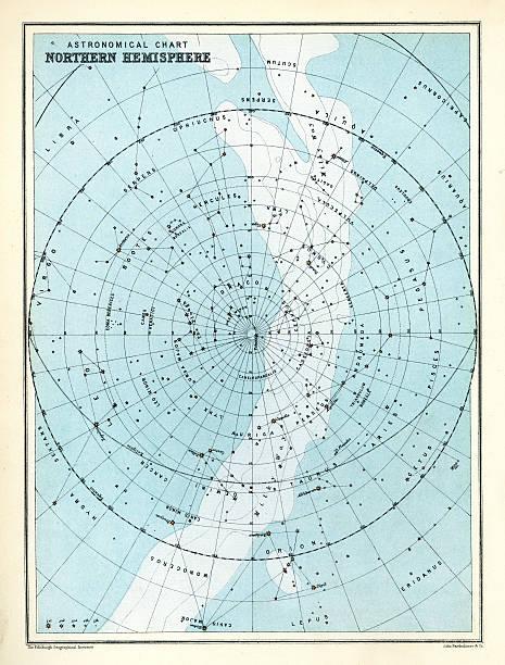 ilustrações de stock, clip art, desenhos animados e ícones de astronomical gráfico-hemisfério norte - mapa das estrelas