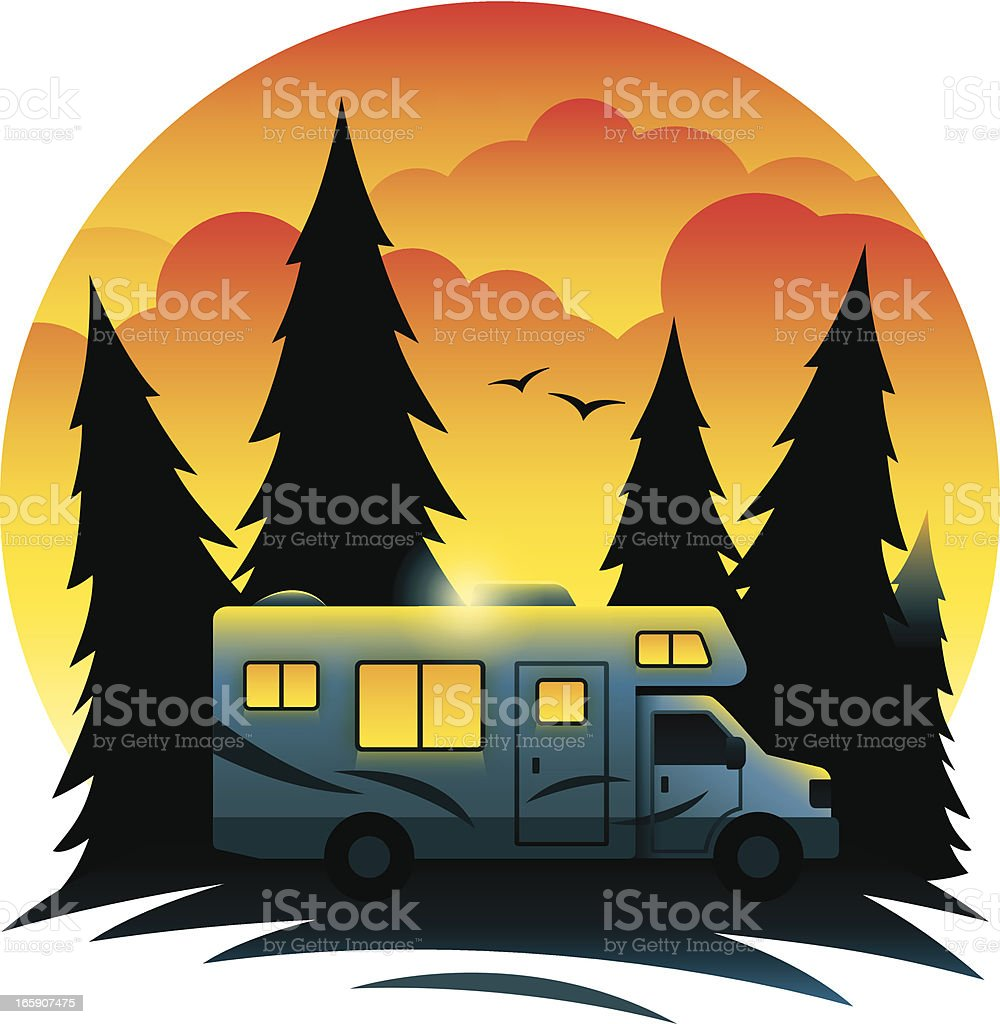 RV at Dusk royalty-free rv at dusk stock vector art & more images of camping