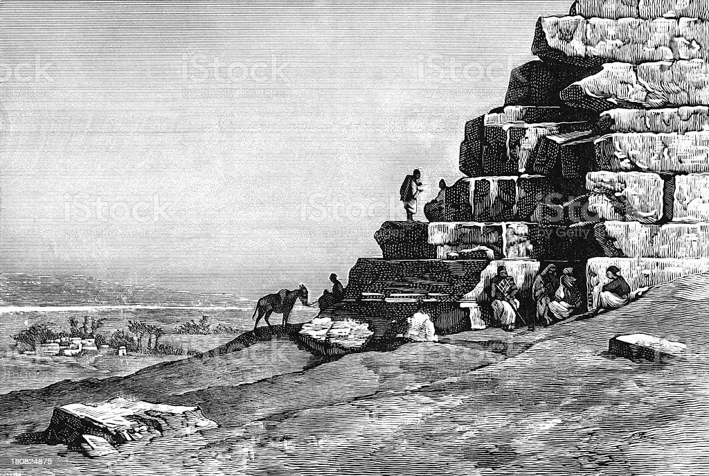 At the bottom of a pyramid - Victorian woodcut vector art illustration