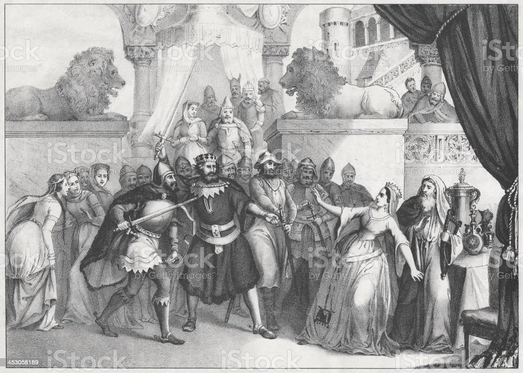 At the court of English King Alfred (848/849-899), lithograph, 1852 royalty-free stock vector art