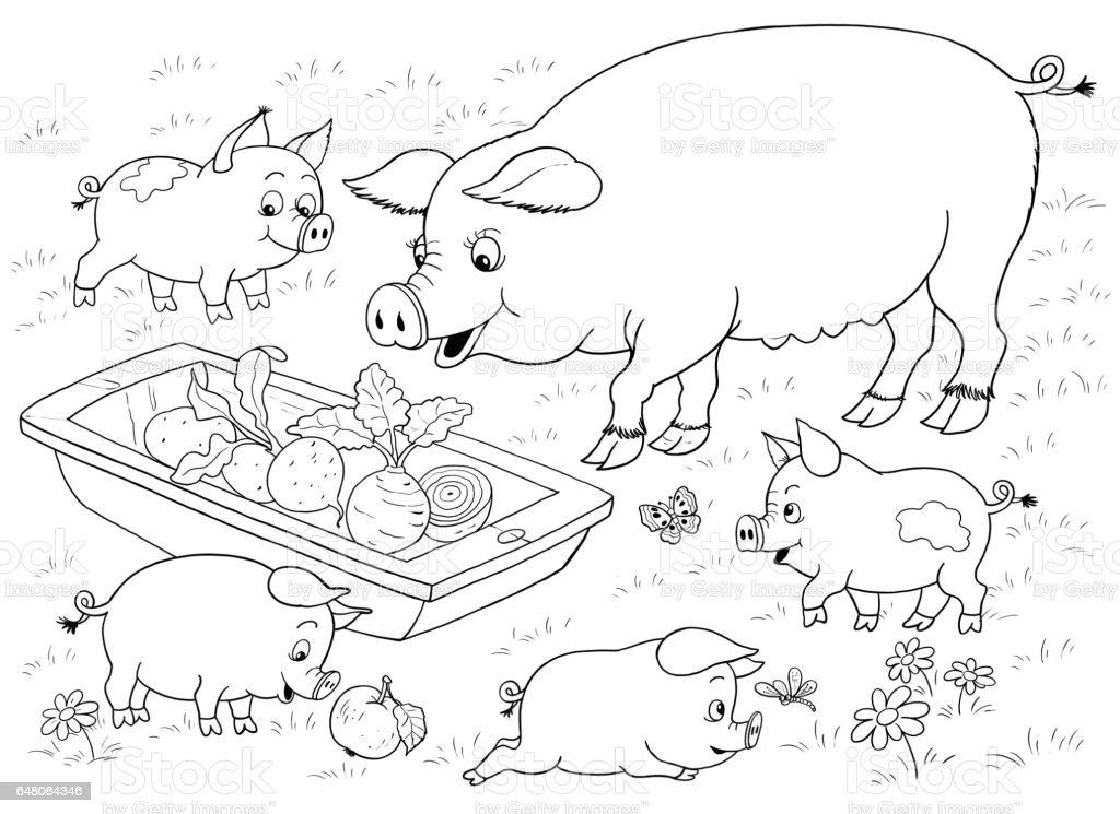 Ciftlikte Aile Sirin Domuz Sebze Yeme Cizim Cocuklar Icin Boyama