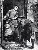 At the house door: senior man talking to a girl, mother listening