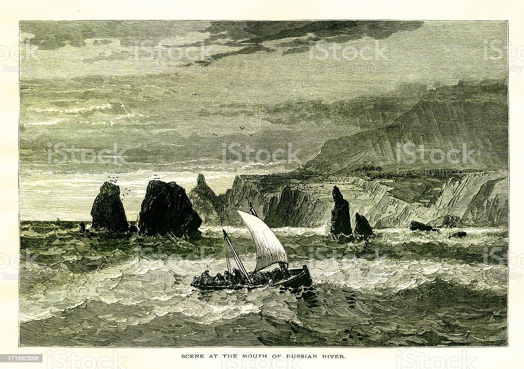 At the mouth of Russian River, California, wood engraving (1872) royalty-free stock vector art