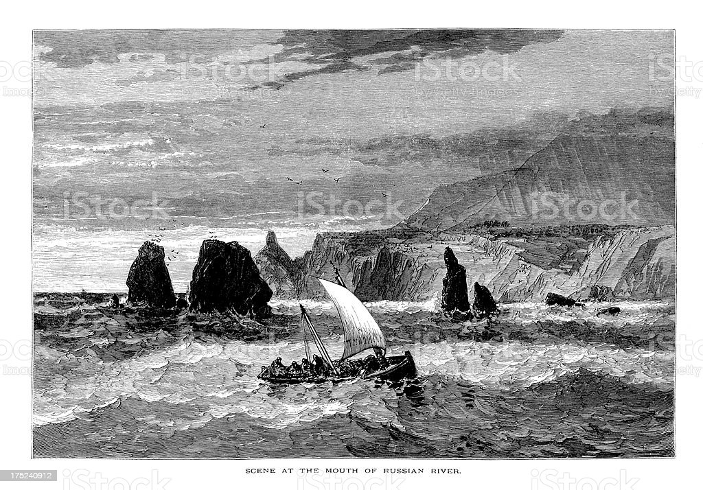 At the mouth of Russian River, California, wood engraving (1872) vector art illustration