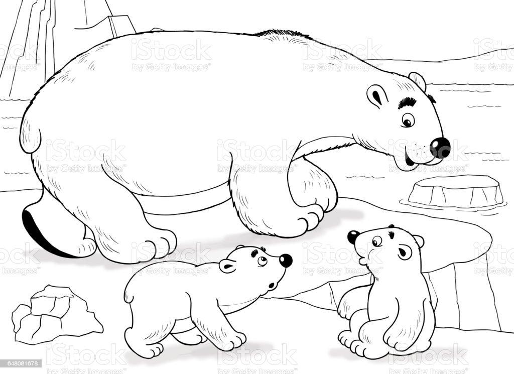 Ilustración de En El Zoológico Animales árticos Familia De Osos De ...