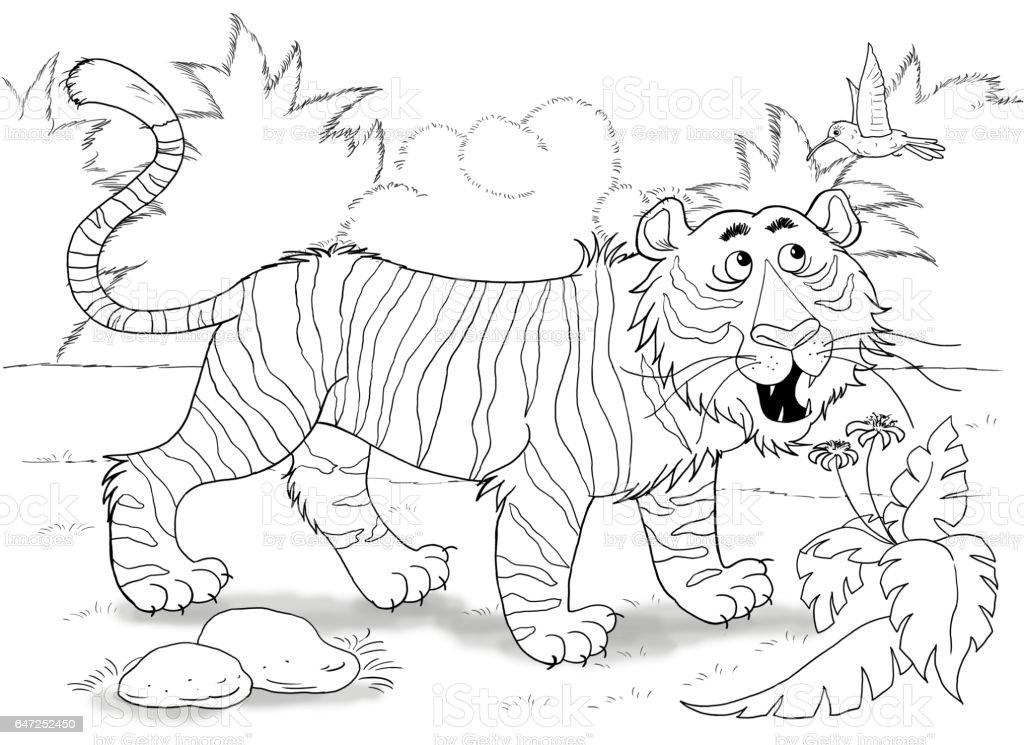 Im Zoo Süße Afrikanische Tiere Ein Tiger Illustration Für Kinder