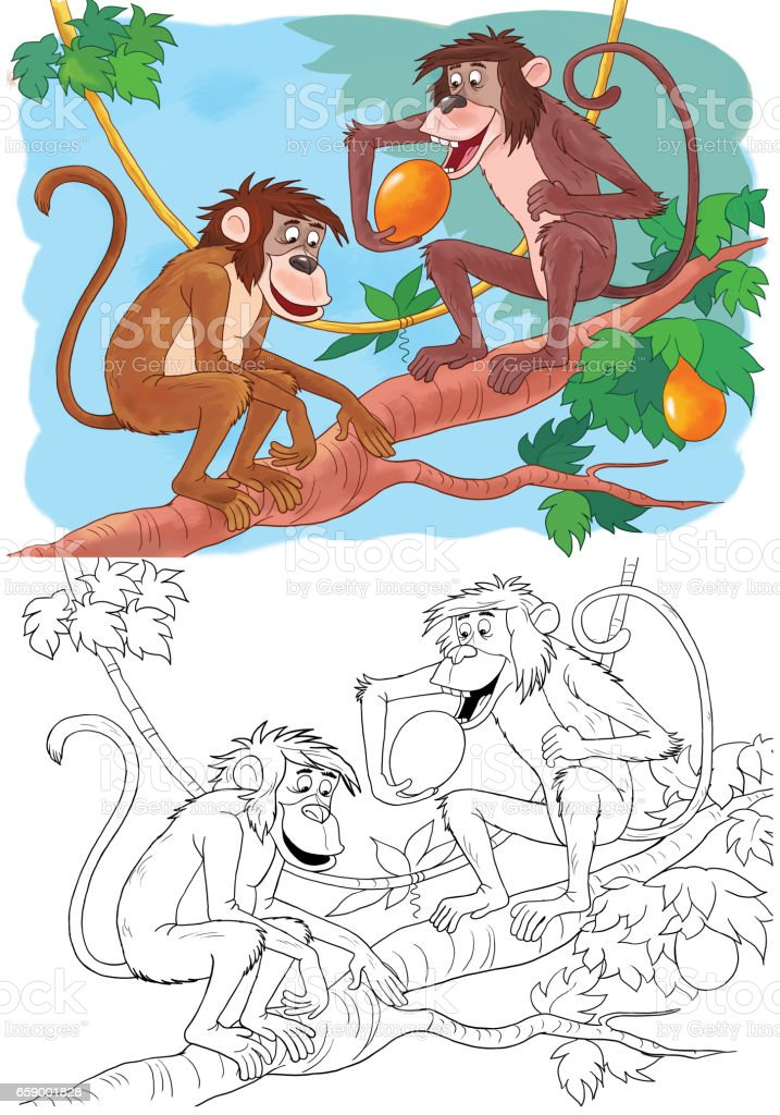 At the zoo. Cute African animals. Monkeys. Illustration for children. Coloring page royalty-free at the zoo cute african animals monkeys illustration for children coloring page stock vector art & more images of africa