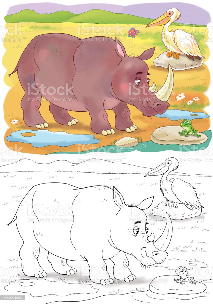 At the zoo. Cute African animals. Rhinoceros. Illustration for children. Coloring page royalty-free at the zoo cute african animals rhinoceros illustration for children coloring page stock vector art & more images of africa