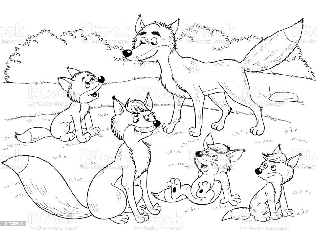 Im Zoo Niedliche Waldtiere Füchse Illustration Für Kinder ...