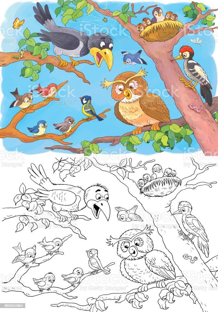 Coloriage Avril Chouette.Au Zoo Animaux De La Foret Mignons Chouette Corbeau Moineau