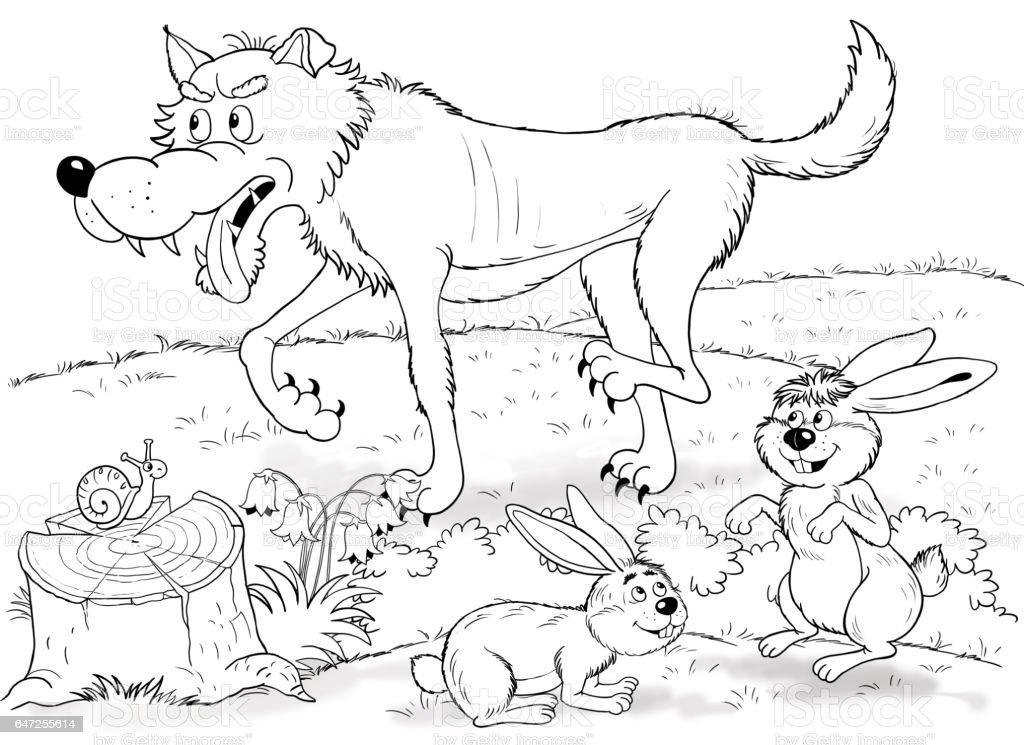 Vetores De No Jardim Zoologico Animais Fofos Florestais Lobo E