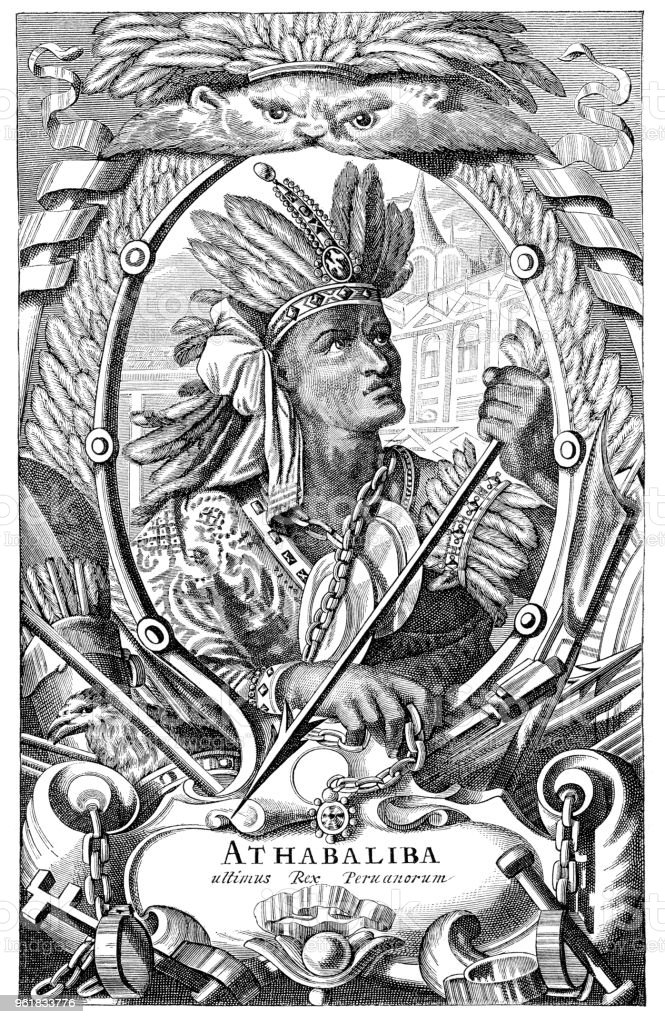 Atahualpa last Inca Emperor portrait illustration 1882 vector art illustration
