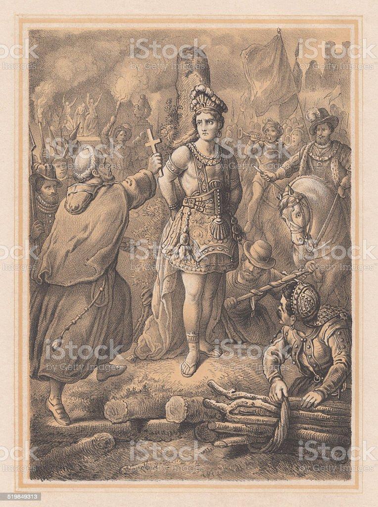Atahualpa, the last Sapa Inca of the Tawantinsuyu, published 1865 vector art illustration
